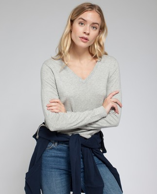 Madaleine V-neck Sweater, Light Warm Gray