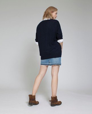 Ana V-neck Sweater, Deepest Blue
