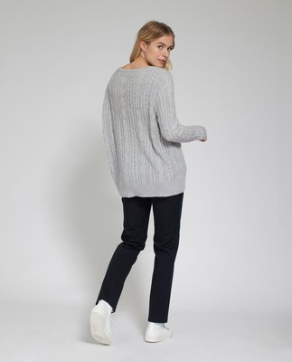 Stella Mohair Sweater, Light Warm Gray