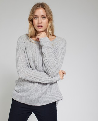 Stella Mohair Sweater, Light Warm Gray