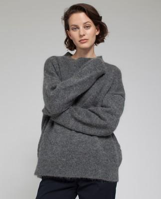 Laila Mohair Sweater, Heather Gray