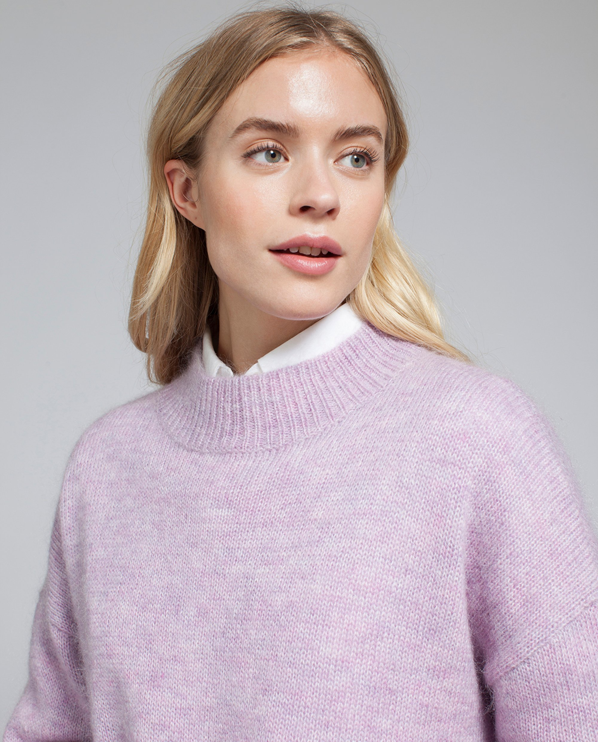 Laila Mohair Sweater, Pastel Lilac