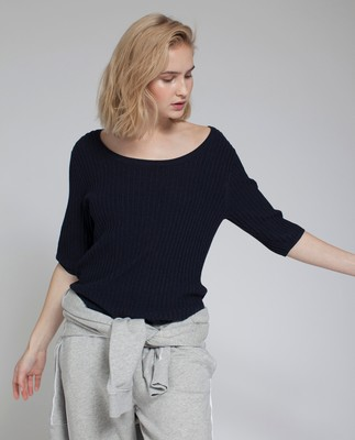 Verna Rib Sweater, Deepest Blue