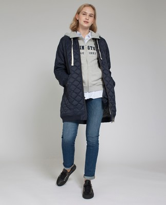 Liv Quilted Long Jacket, Deep Marine Blue