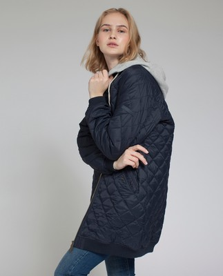 Liv Quilted Long Jacket, Deep Marine Blue