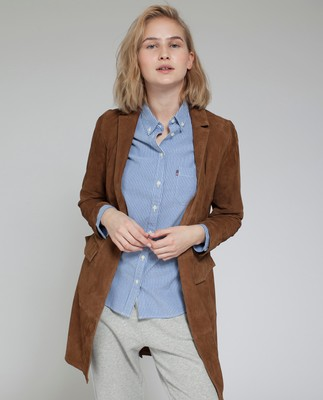 Denise Suede Long Blazer