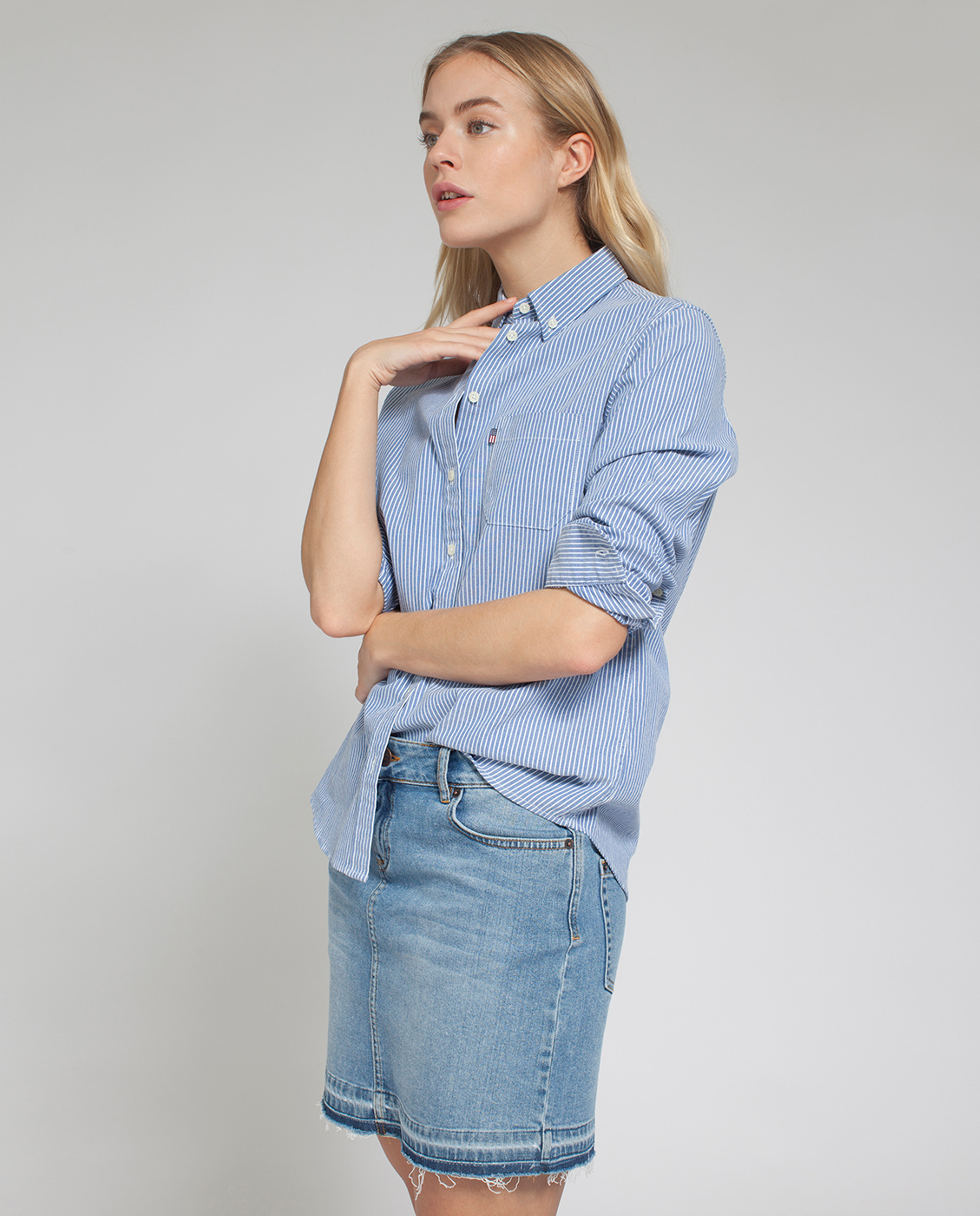 Sarah Oxford Shirt, Blue/White