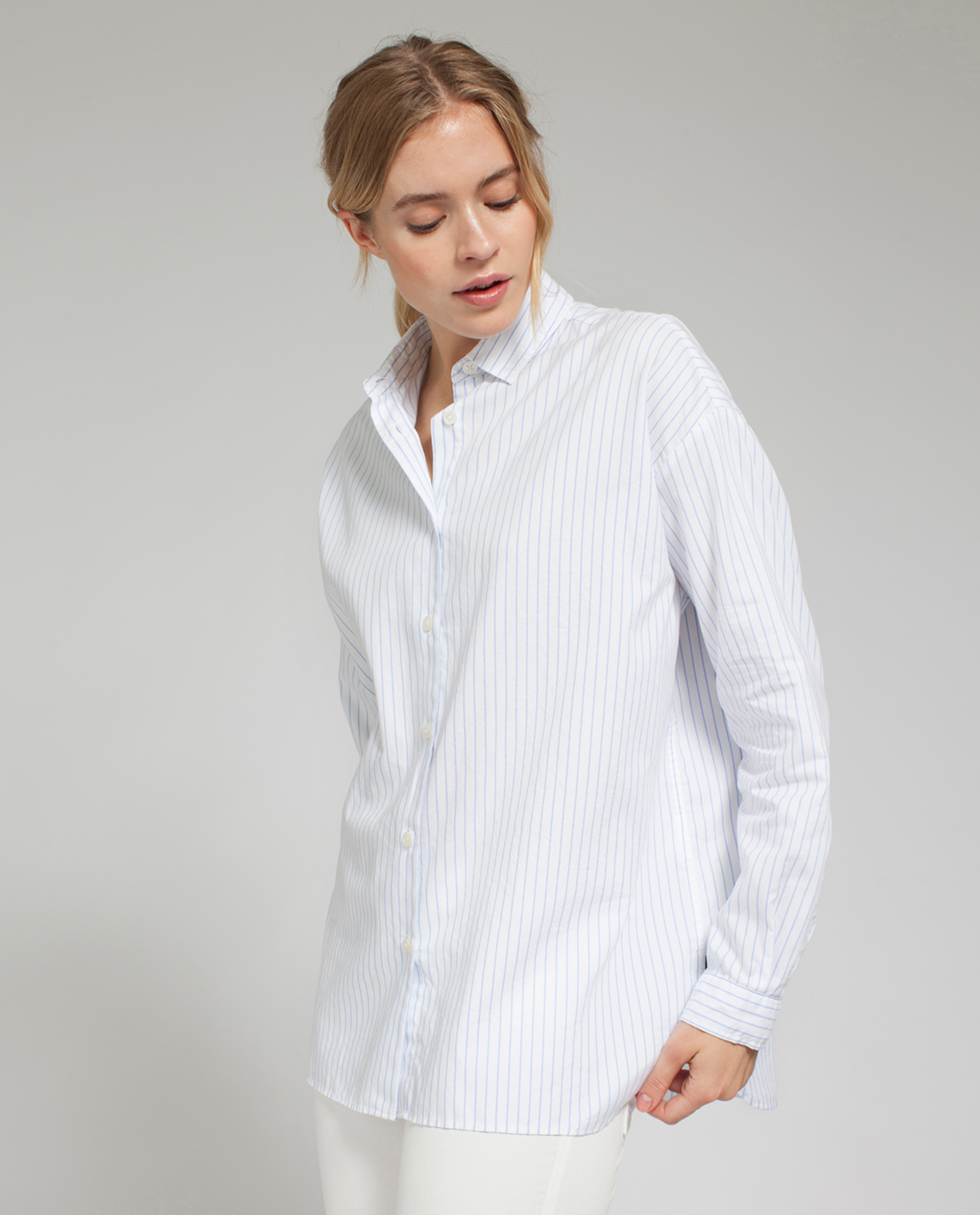 Edith Light Oxford Shirt, White/Blue