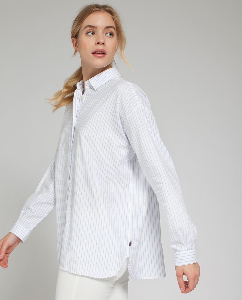 Edith Light Oxford Shirt, White/Blue ...