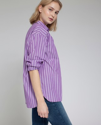 Edith Poplin Shirt, Lilac/White
