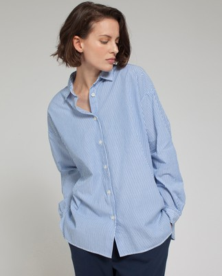 Edith Poplin Shirt, Blue/White