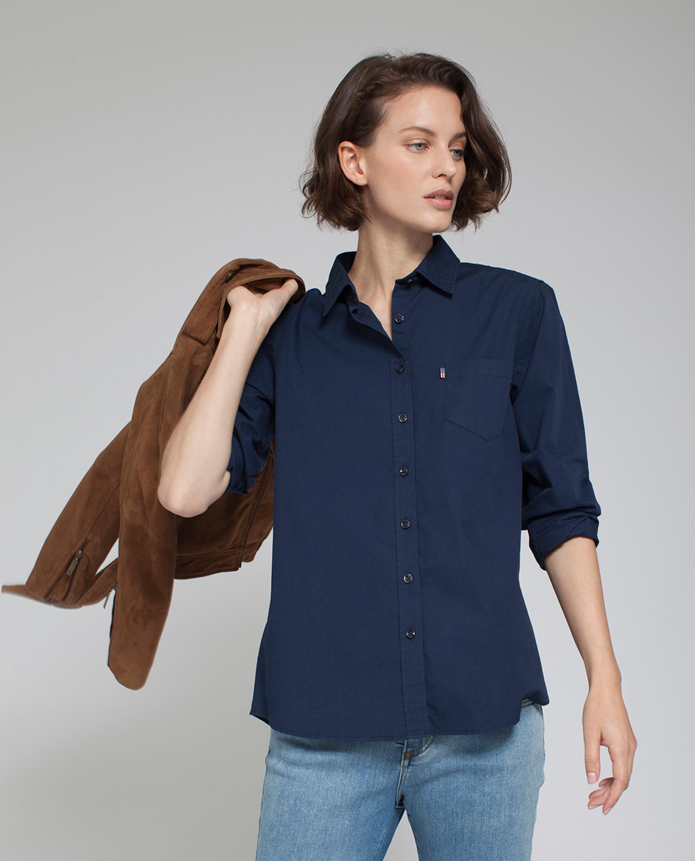 Emily Poplin Shirt, Deepest Blue