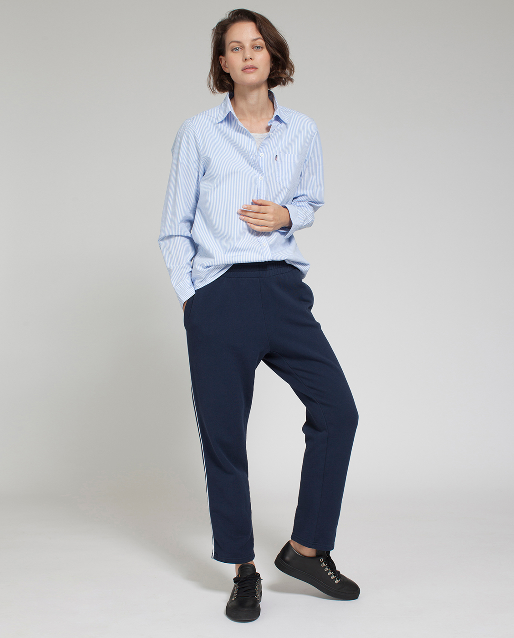 Emily Poplin Shirt, Blue/White