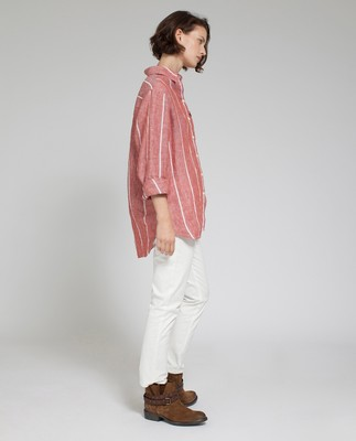 Isa Linen Shirt, Dark Orange/White