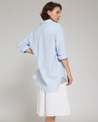 Isa Linen Shirt, Blue/White
