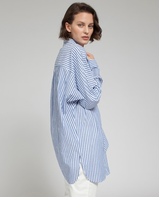 Sophia Cotton Shirt, Blue/White
