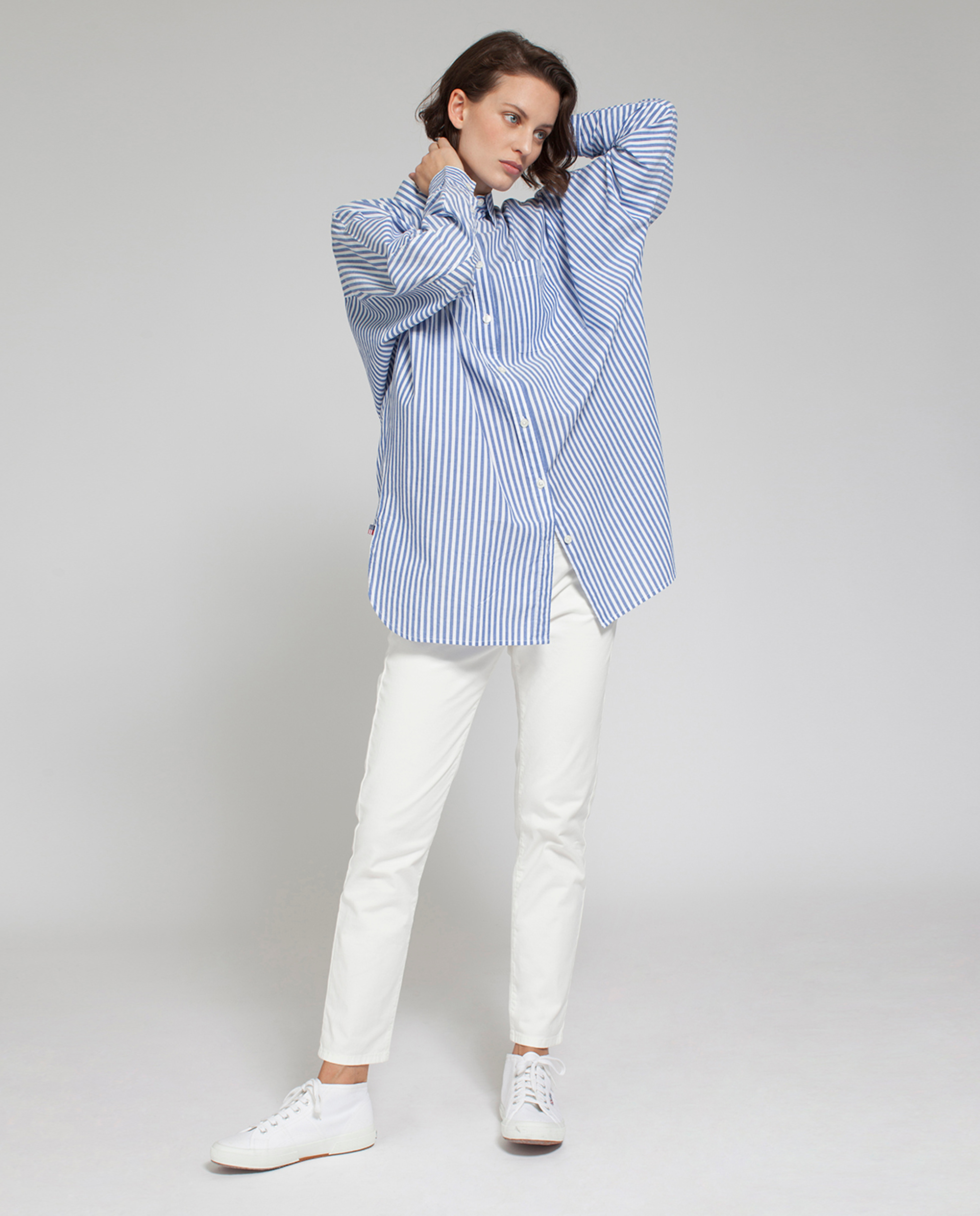 Sophia Cotton Shirt, Blue/White