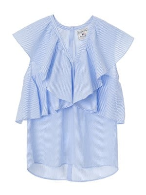 Elmira Poplin Top, Blue/White