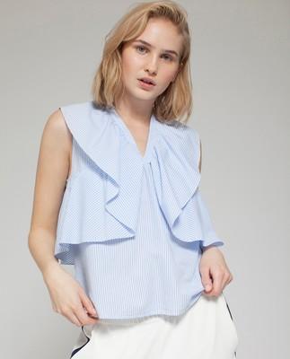 Elmira Poplin Top, Blue/White