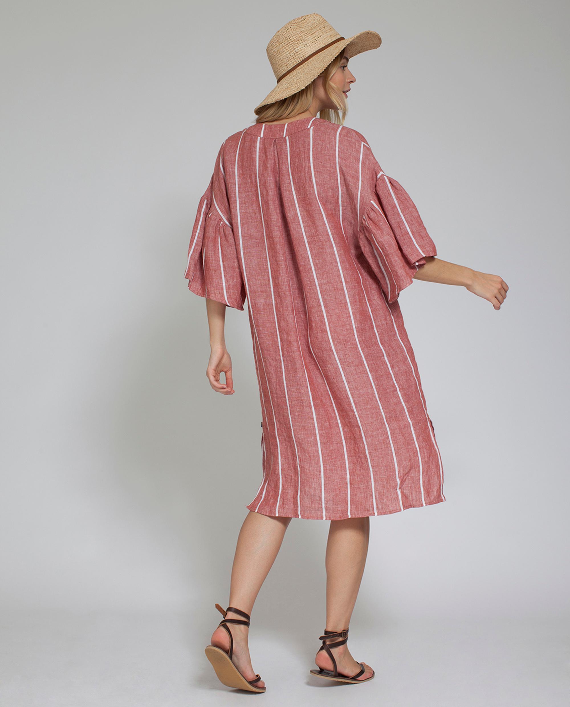 Bali Summer Dress, Dark Orange/White