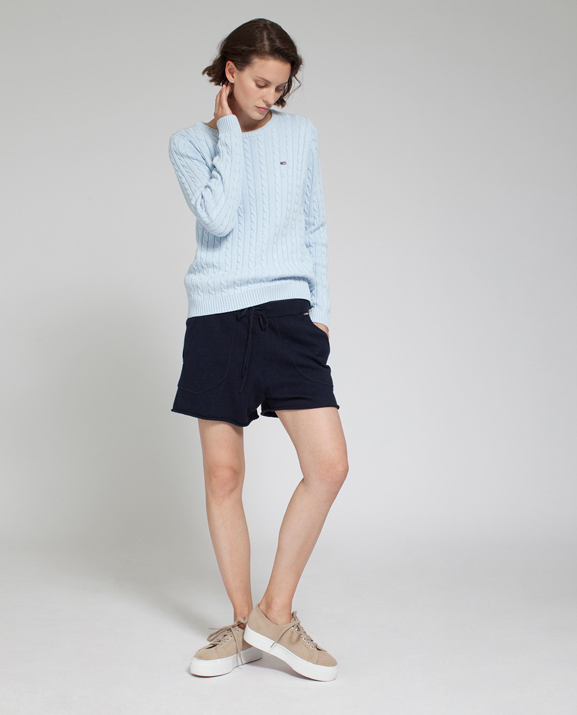 Felizia Cable Sweater, Light Blue