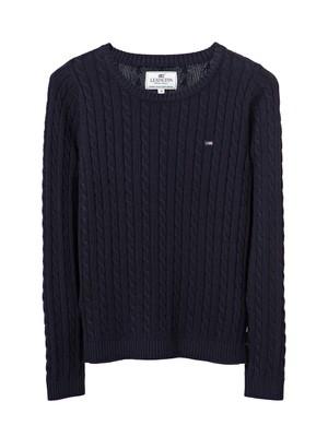 Felizia Cable Sweater, Deep Marine Blue