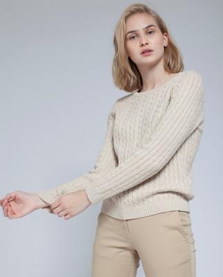 Felizia Cable Sweater, Camel