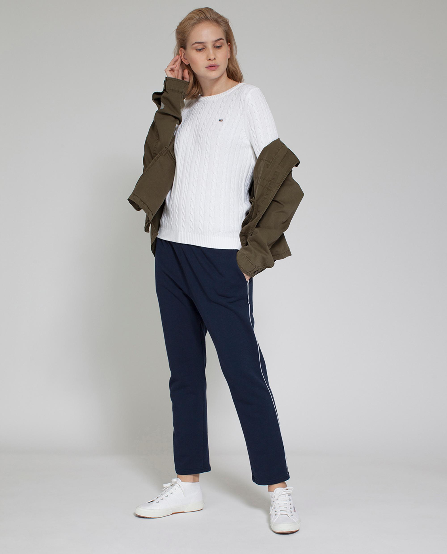 Felizia Cable Sweater, Bright White