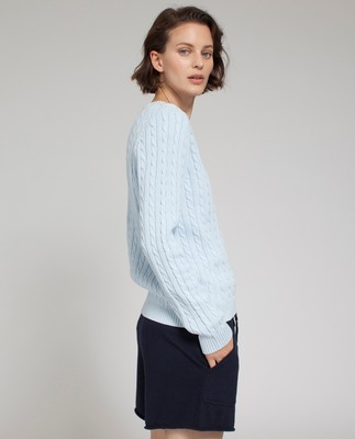 Felizia Cable Sweater, Light Blue
