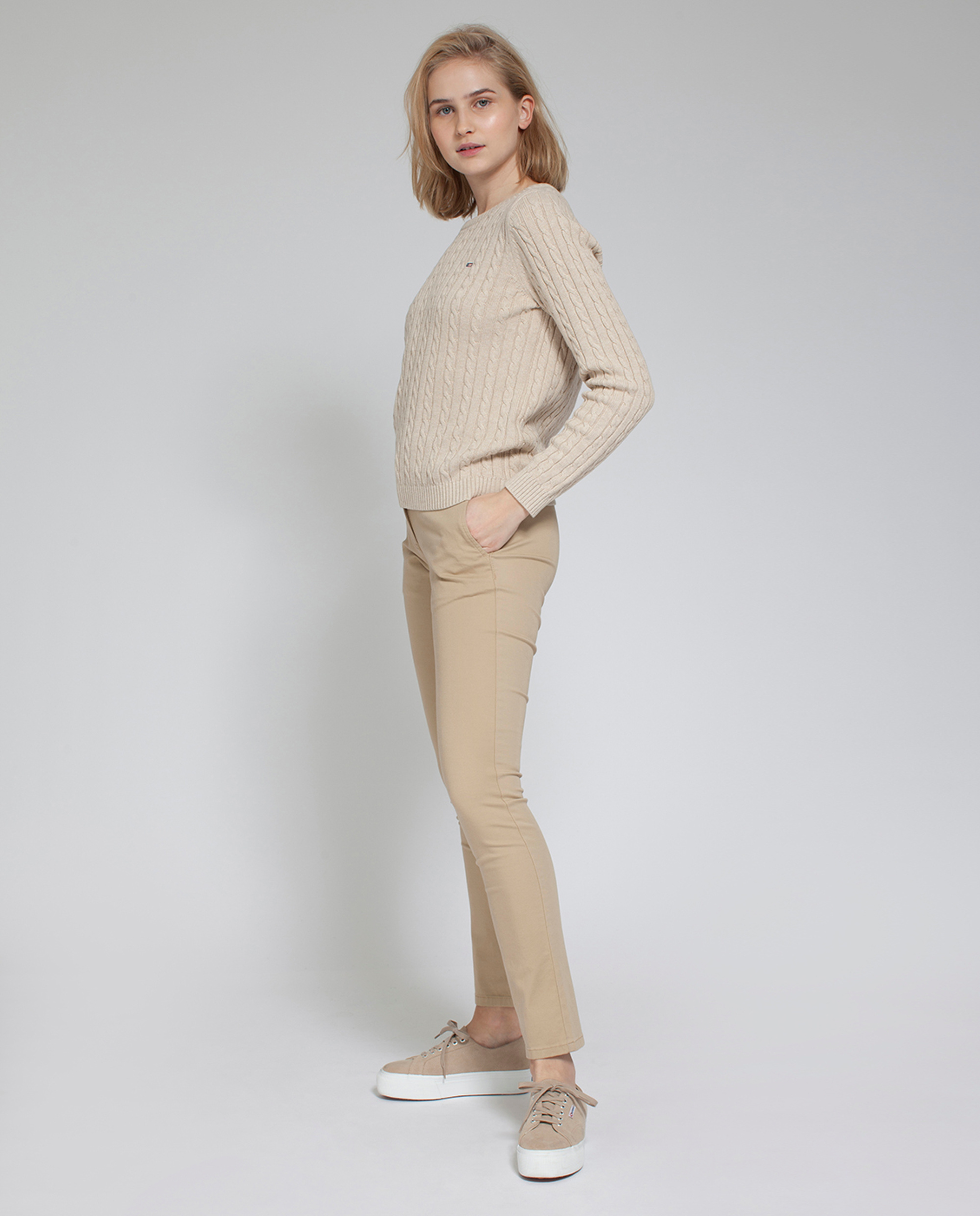 Felizia Cable Sweater, Camel