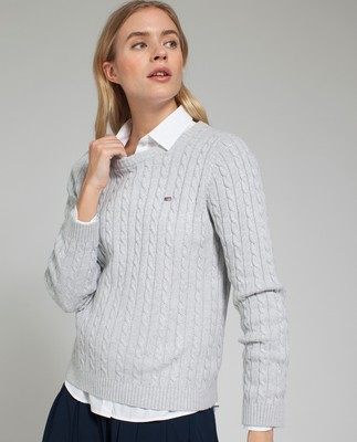 Felizia Cable Sweater, Light Gray