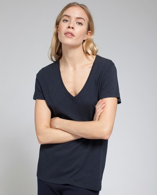 Alina V-neck Tee, Deep Marine Blue