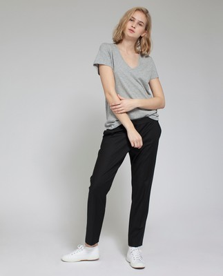 Alina V-neck Tee, Light Gray