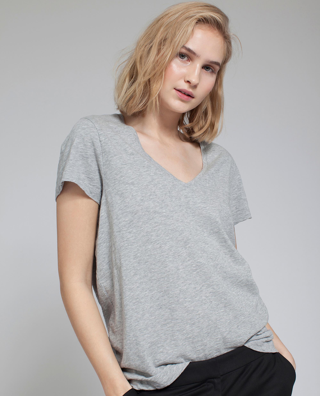 Alina V-neck Tee, Light Gray