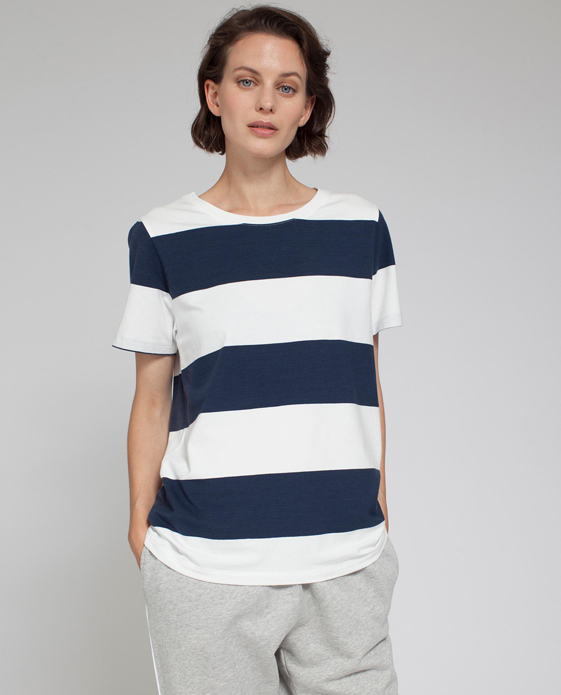Rachel Striped Tee, Blue/White