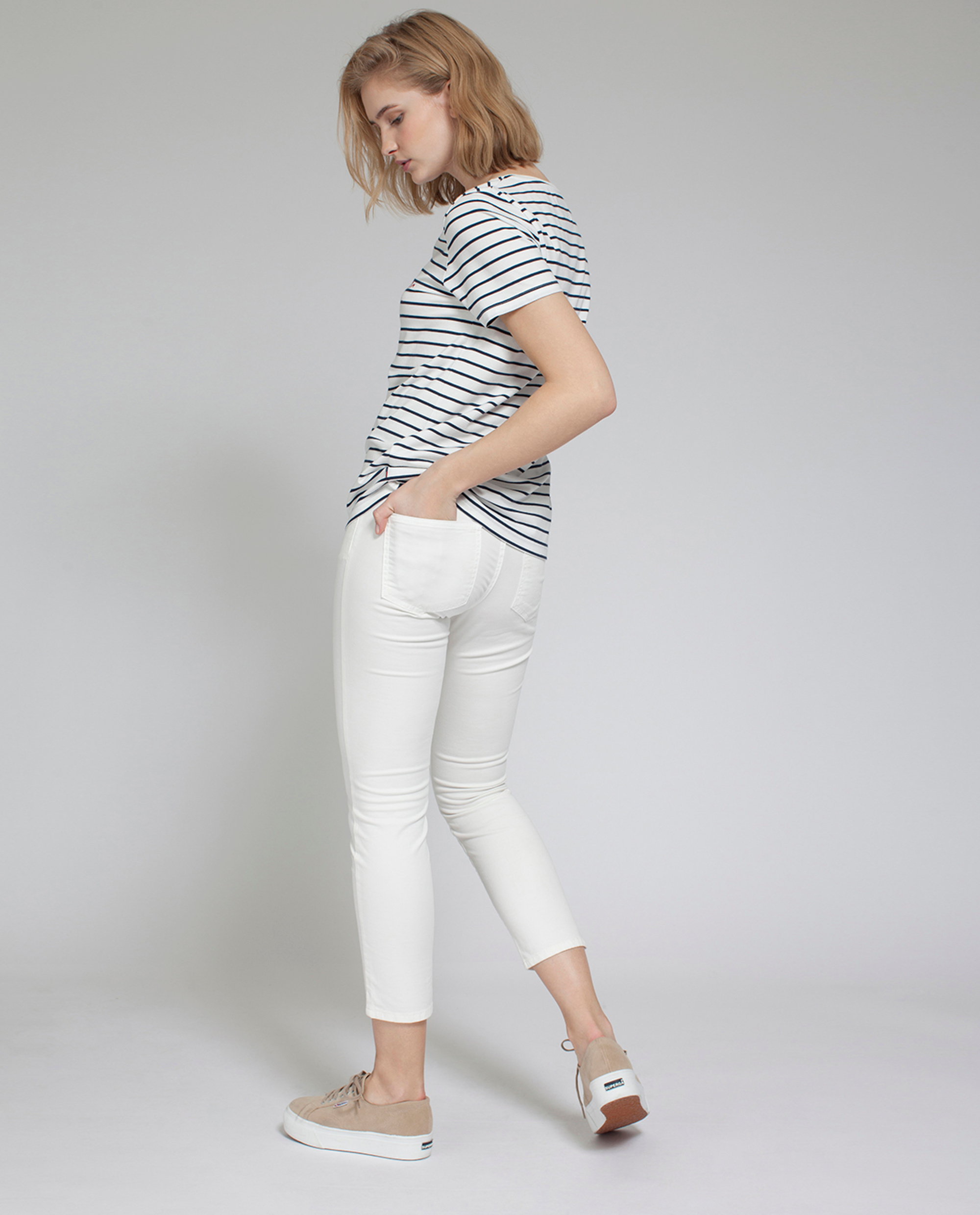 Rachel Striped Tee, Stripe with Print