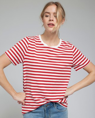 Rachel Striped Tee, Red/White