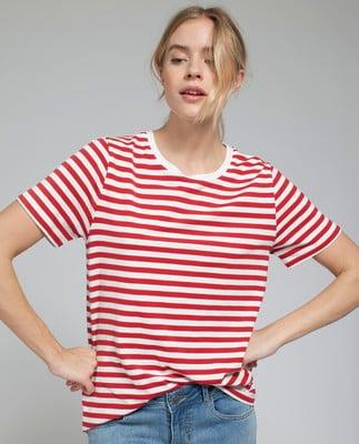 Rachel Striped Tee, Red/White