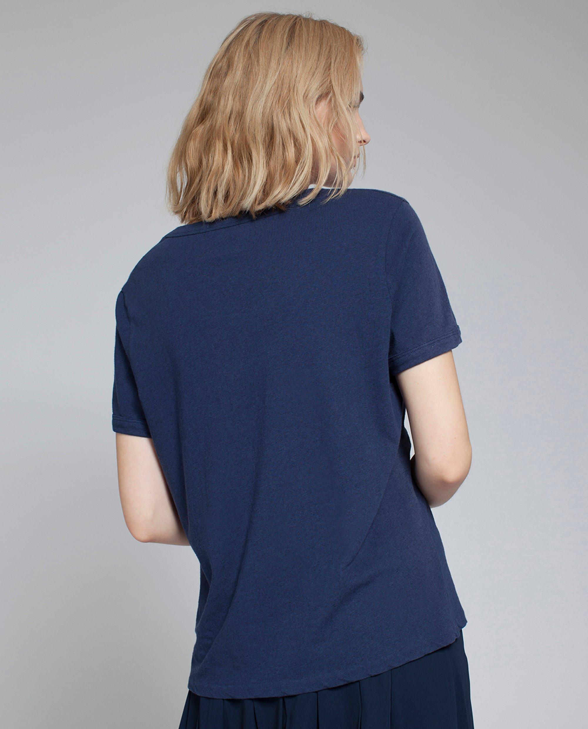 Franka Cotton Linen Tee, Deep Marine Blue