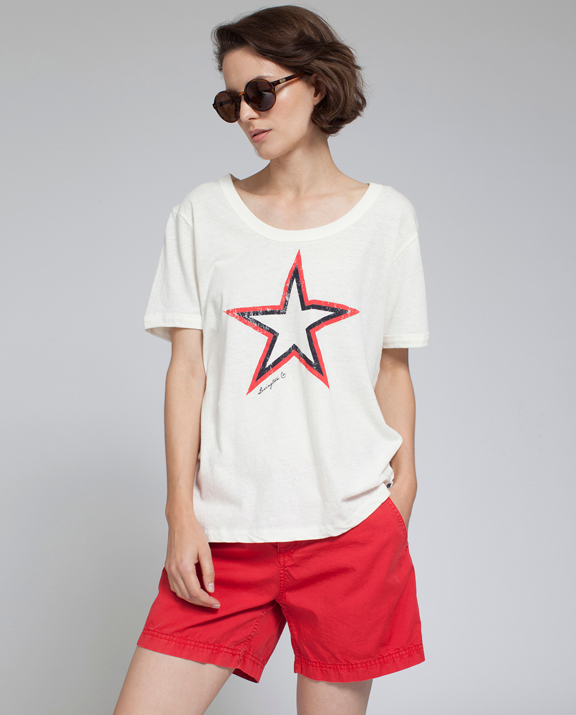 Franka Cotton Linen Tee, Snow White