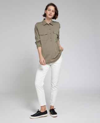 Olivia Jersey Shirt, Savanna Green