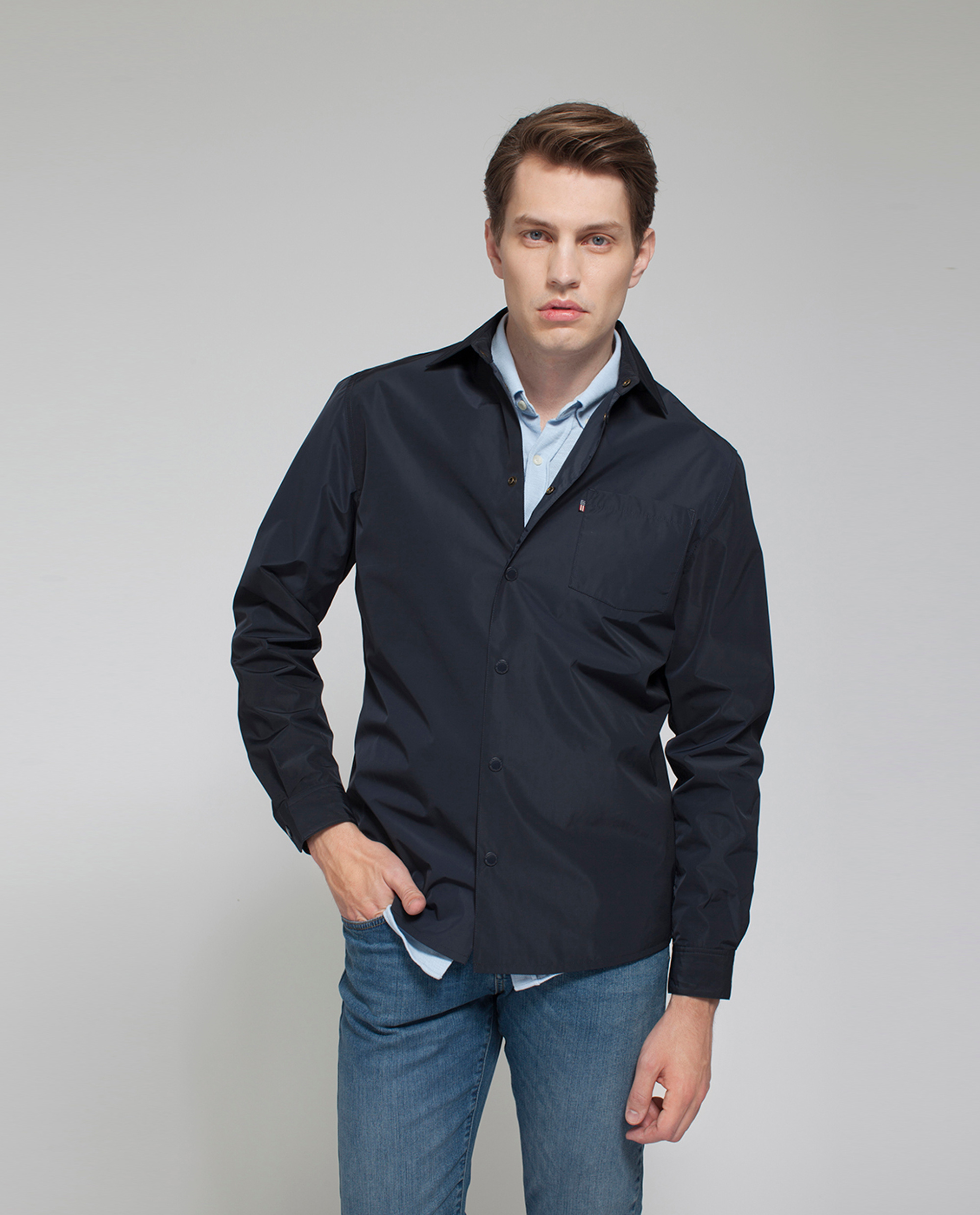 Palmer Nylon Shirt Jacket, Deep Marine Blue
