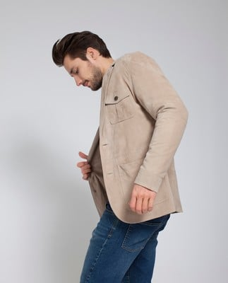 John Traveller Suede Jacket, Feather Gray
