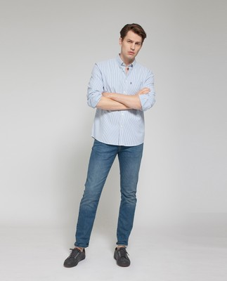 Kyle Oxford Shirt, Blue/White Stripe