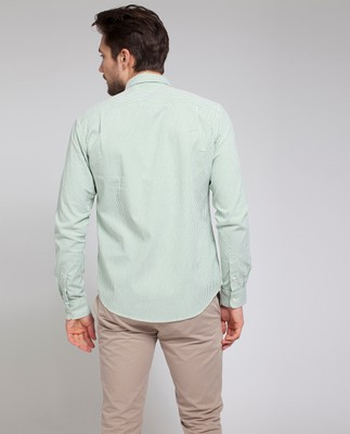 Kyle Oxford Shirt, Green/White Stripe