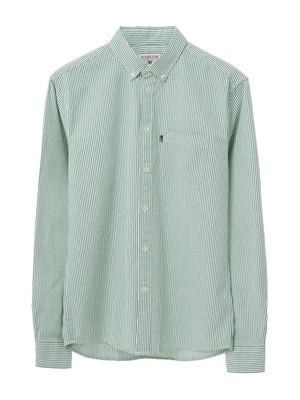 Kyle Oxford Shirt, Green/White Stripe
