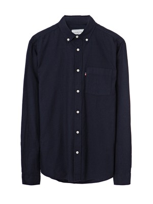 Peter Light Flannel Shirt, Deep Marine Blue