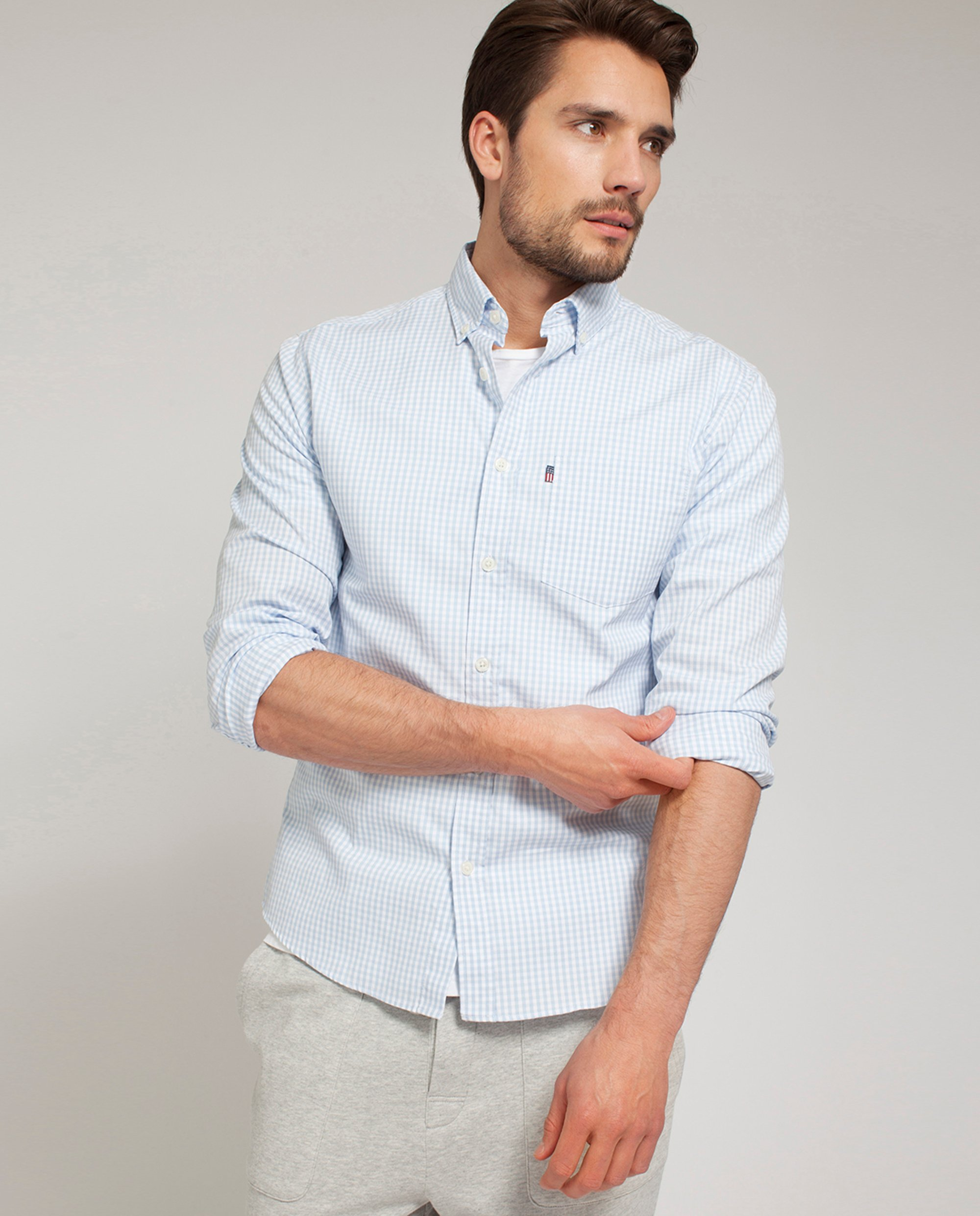 Peter Light Oxford Shirt, Light Blue/White