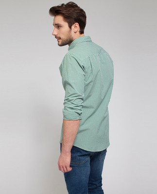 Taylor Poplin Shirt, Green/White