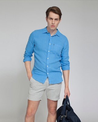 Ryan Linen Shirt, Marina Blue